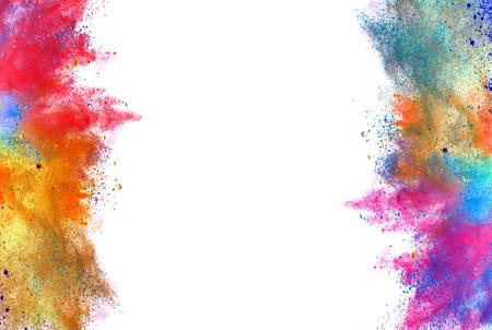 Explosion von farbigen Pulver, isoliert auf weißem Hintergrund Standard-Bild - 56715969