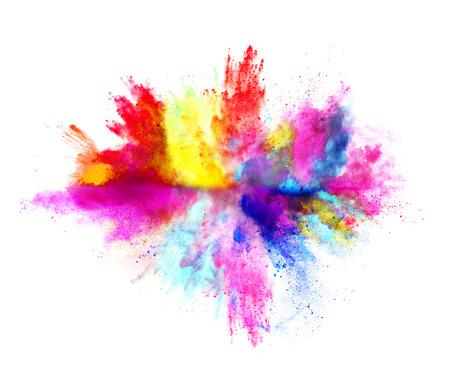Explosión de polvo de color, aislado en fondo blanco Foto de archivo - 56715972