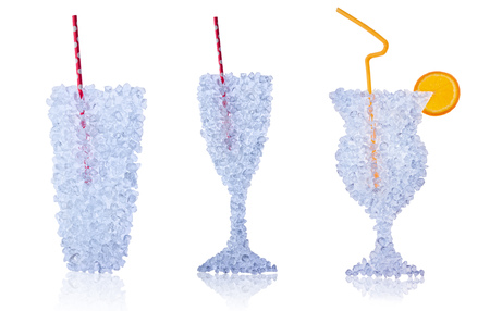 drifting ice: Glasses of drinks made of ice drift isolated on white background