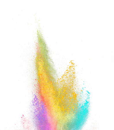 Explosion of colored powder, isolated on white background