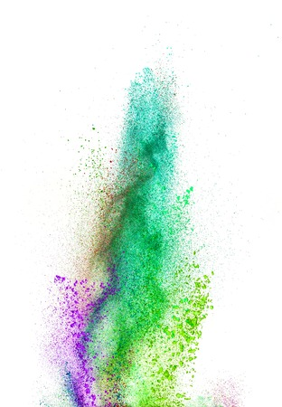 color background: Explosion of colored powder, isolated on white background
