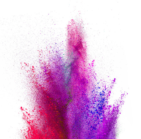 colored powder: Explosion of colored powder, isolated on white background
