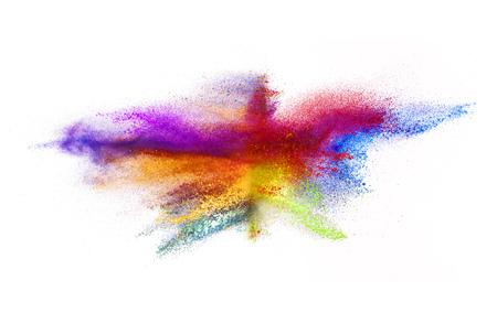 Explosion de poudre de couleur, isolé sur fond blanc