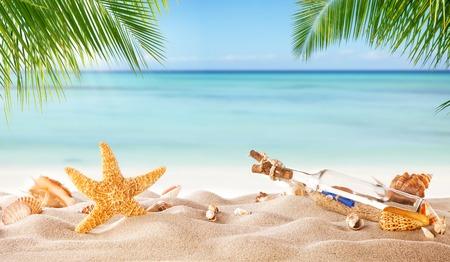 Tropisch strand met diverse schelpen en glazen fles met bericht in zand, copyspace voor tekst. Concept summr ontspanning