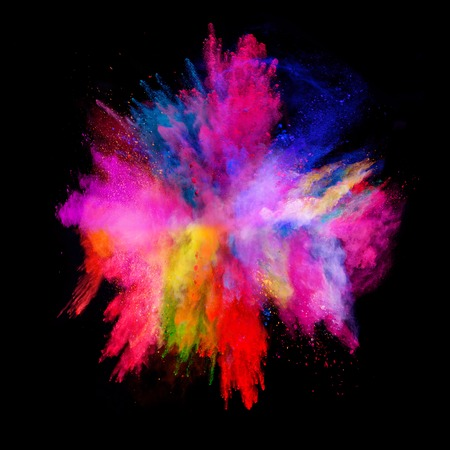 Explosion of colored powder, isolated on black background Banque d'images