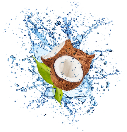 spurt: Pieces of coconuts in water splash and ice cubes, isolated on white background Stock Photo