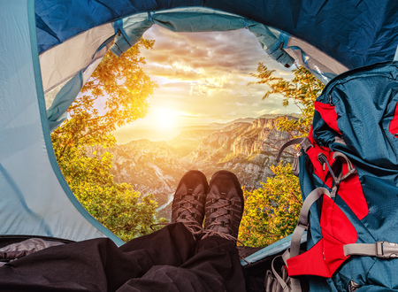 Tent lookout on a beautiful sunset in high mountains