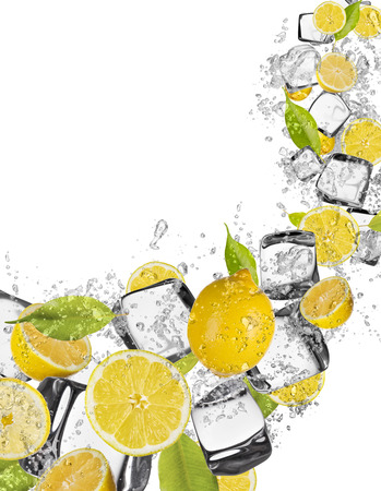 spurt: Pieces of lemons in water splash and ice cubes, isolated on white background Stock Photo