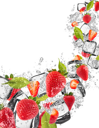 spurt: Strawberries in water splash isolated on white background Stock Photo