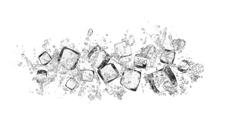 ice cubes with water splashes isolated on white background Stockfoto