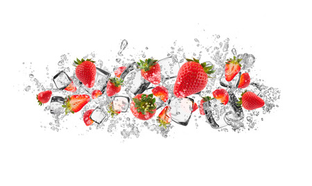 soda splash: Strawberries in water splash isolated on white background Stock Photo