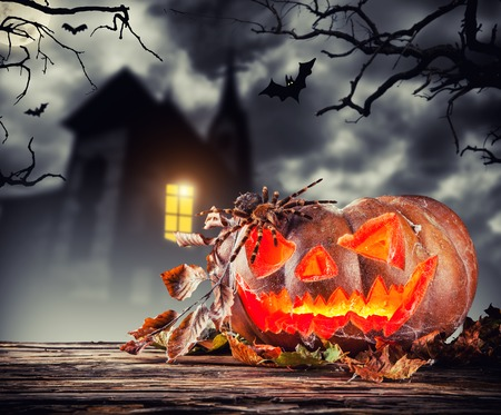 scary halloween: Scary halloween pumpkin with horror background. Empty space for text