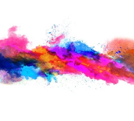Explosion von farbigen Pulver, isoliert auf weißem Hintergrund Standard-Bild - 62160605