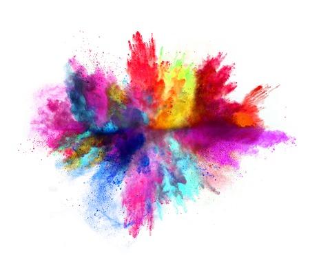 couleur: Explosion de poudre de couleur, isolé sur fond blanc Banque d'images