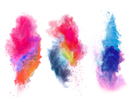 Explosions of colored powder, isolated on white background Banque d'images