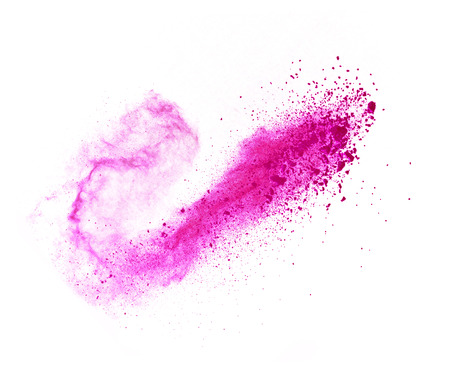 Explosion of pink powder, isolated on white background Фото со стока