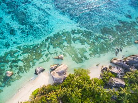 anse source d argent: Aerial photo of Seychelles tropical beach Anse Source D Argent at La Digue island