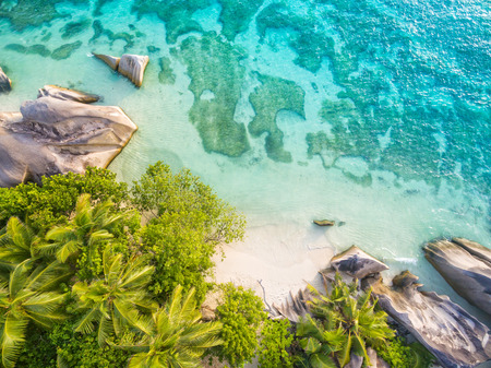argent: Aerial photo of Seychelles tropical beach Anse Source D Argent at La Digue island