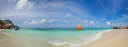 argent: Beautiful Seychelles tropical beach Anse Source D Argent at La Digue island Stock Photo