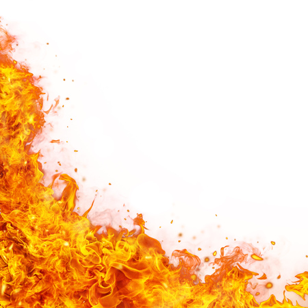 Abstract fire flames background with free space for text. Isolated on white