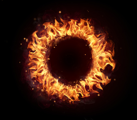 fire circle: Abstract shape of fire circle isolated on white background