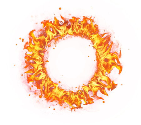 Abstract shape of fire circle isolated on white background