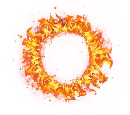 fogatas: Resumen forma de círculo de fuego aislado en el fondo blanco Foto de archivo