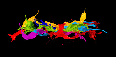 abstract color splash isolated on black background Foto de archivo