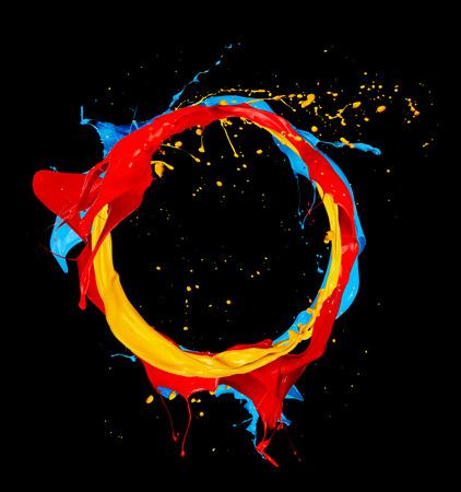 paint splash: abstract color splashes circle isolated on black background Stock Photo