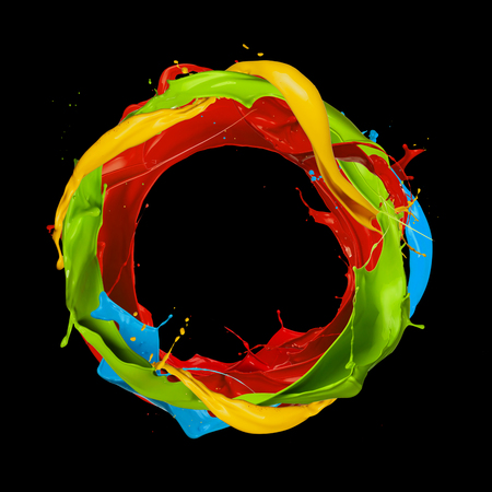 circle abstract: abstract color splashes circle isolated on black background Stock Photo