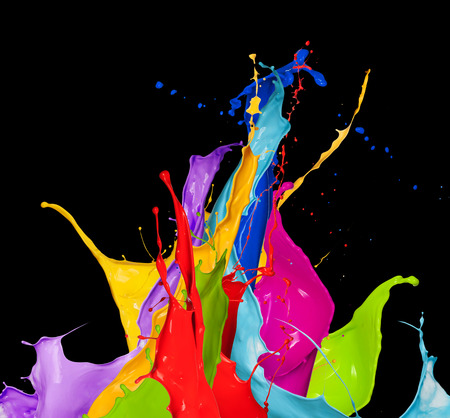abstract color splash isolated on black background Imagens