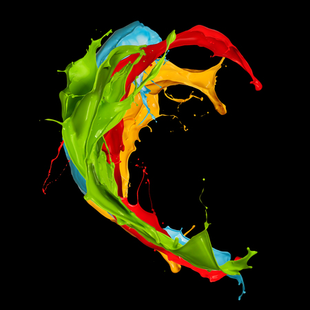 abstract color splash isolated on black background 스톡 콘텐츠