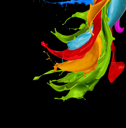color: abstract color splash isolated on black background Stock Photo