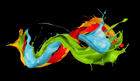 abstract color splash isolated on black background Stock Photo