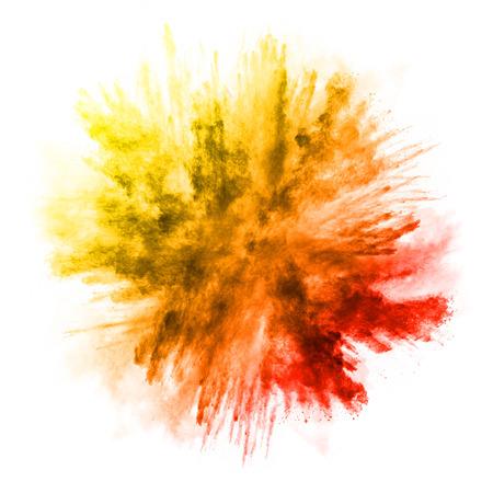 Explosion de poudre de couleur, isolé sur fond blanc Banque d'images