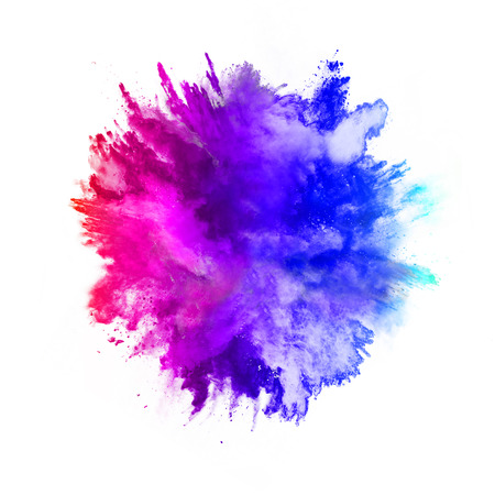 white color: Explosion of colored powder, isolated on white background