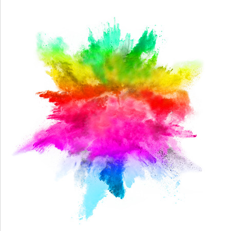 splatter: Explosion of colored powder, isolated on white background