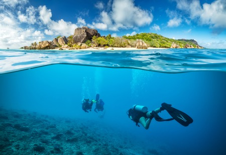 exploring: Divers below the surface in Seychelles exploring corlas