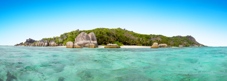 Beautiful Seychelles tropical beach Anse Source D Argent at La Digue island Stock Photo