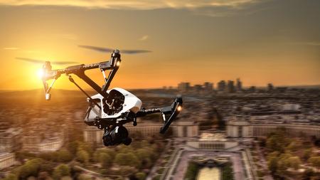 ぼかしの動きでパリ市内パノラマ上空を飛んでいる無人機