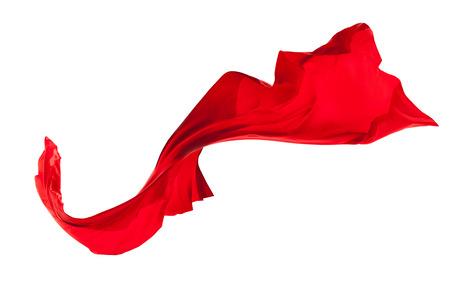 白い背景に分離された滑らかなエレガントな赤いサテンの布 写真素材