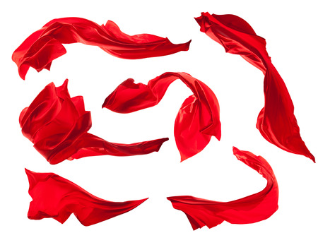 Smooth elegant red satin cloth collection isolated on white background Imagens