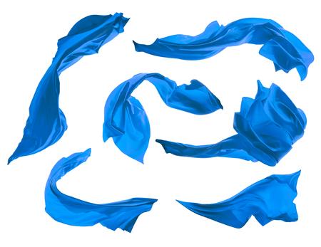 colección elegante tela de satén azul suave aislado en el fondo blanco