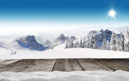 panoramatic: Empty wooden planks with winter alpine high mountains. Ideal for product placement