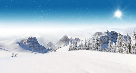 Beautiful winter panorama with fresh powder snow. Landscape with spruce trees, blue sky with sun light and high Alpine mountains on background 版權商用圖片 - 65008490