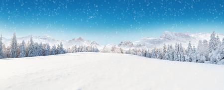 Mooi winterpanorama met verse poedersneeuw. Landschap met spruce bomen, blauwe lucht met zonlicht en hoge Alpen bergen op de achtergrond
