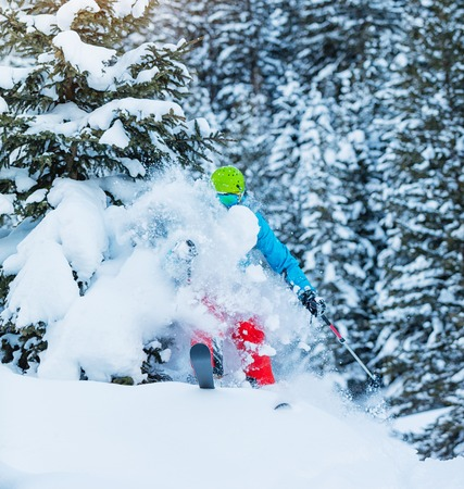Freeze motion of freerider in deep powder snow, skiing in forest