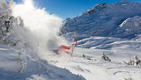 skier jumping: Dangerous accident of skier jumping in the air., concept of risk and insurance Stock Photo