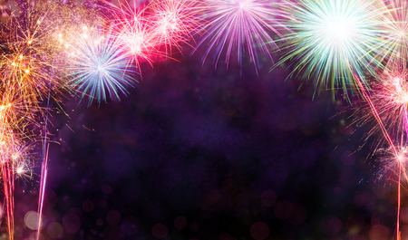 Abstract colored firework background with free space for text 写真素材