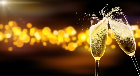 Two glasses of champagne over blur spots lights background. Celebration concept, free space for text Фото со стока